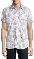 Robert Graham Adama Printed Short-Sleeve Sport Shirt, White