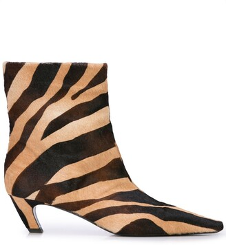 KHAITE The Ankle zebra print boots