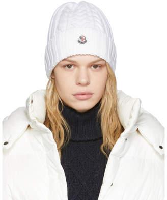 Moncler White Wool Beanie