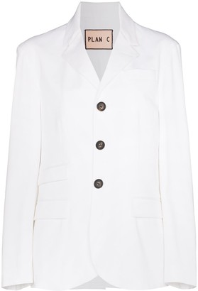 Plan C Single-Breasted Cotton-Blend Blazer