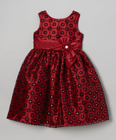 Jayne Copeland Red & Black Flocked Rhinestone Floral Dress - Toddler & Girls