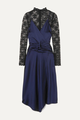 Jonathan Simkhai Layered Ruched Satin And Lace Midi Dress - Black