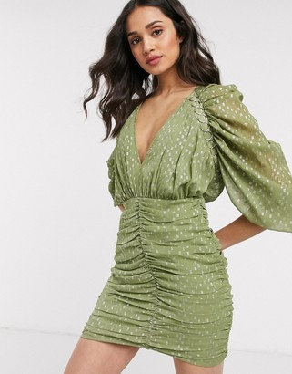 ASOS DESIGN metallic jacquard mini dress with ring trim detail in green