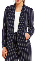 Jones New York Shawl Collar Open-Front Pinstripe Jacket