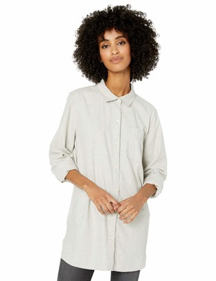 Goodthreads Solid Brushed Twill Long-sleeve Button-front Shirt Light Grey Heather XXL