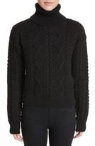 Saint Laurent Women's Cable Knit Wool Turtleneck Sweater