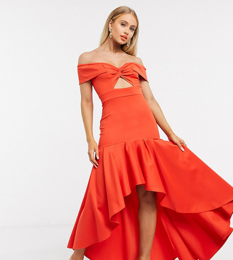 Laced In Love ultimate high low dress with bow detail in red
