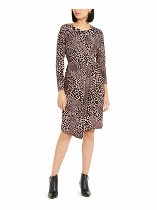 Alfani Womens Black Belted Animal Print Long Sleeve Jewel Neck Below The Knee Sheath Dress UK Size:16
