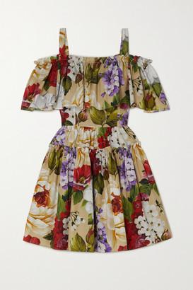 Dolce & Gabbana Cold-shoulder Floral-print Cotton-poplin Mini Dress - Beige