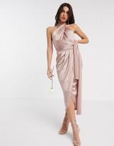 TFNC Bridesmaid multi way midi dress in shiny fabric