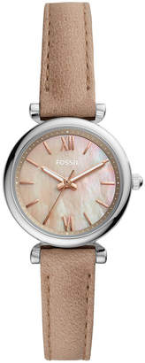Fossil Women Mini Carlie silver tone case with sand leather strap