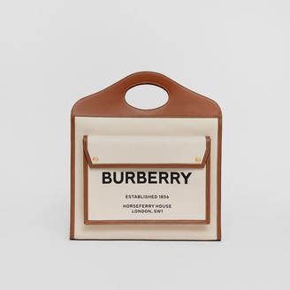 Burberry Medium Two-tone Canvas and Leather Pocket Bag