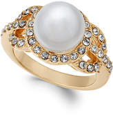 Charter Club Gold-Tone Pave & Imitation Pearl Ring, Created for Macy's
