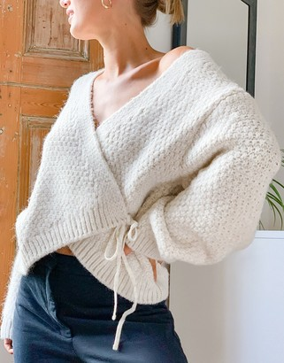 Topshop knitted wrap jumper in ivory