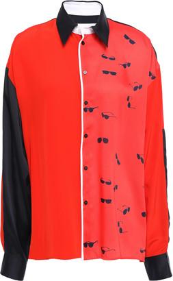 Victoria Victoria Beckham Victoria, Victoria Beckham Printed Color-block Twill Shirt