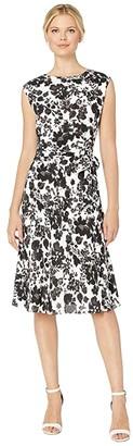 Lauren Ralph Lauren Floral Fit and Flare Dress (Silk White Multi) Women's Clothing