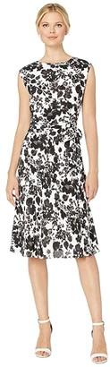 Lauren Ralph Lauren Floral Fit and Flare Dress (Silk White Multi) Women's Clothing
