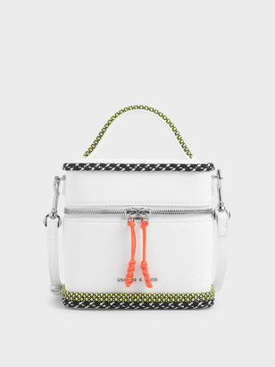 Charles & Keith Rope Trim Zip-Around Cylindrical Bag