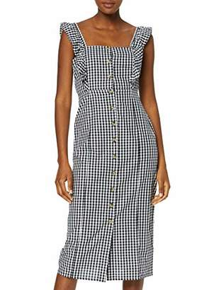 Warehouse Women's Frill Detail Gingham Midi Dress, (Black Print 76), 8 (Size:8)