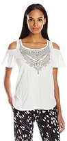 Democracy Women's Knit Cold Shoulder Jewel Necklace Print Tee