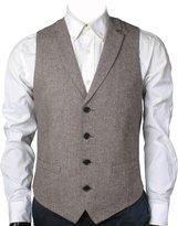 Ruth&Boaz 2Pockets 4Buttons Wool Herringbone/Tweed Tailored Collar Suit Vest (XXL, )