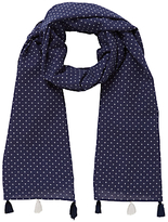 John Lewis Girls' Cross Dot Long Tassel Scarf, Navy