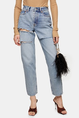 Topshop Womens Bleach Slash Rip Dad Jeans - Mid Stone