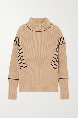 Palmer Harding Ateli Ribbed Cotton And Cashmere-blend Turtleneck Sweater - Beige