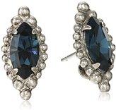 "Sorrelli Blue Brocade"" Navette Cut Solitaire Post Earrings"