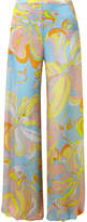 Emilio Pucci Printed Silk-jersey Wide-leg Pants - Light blue