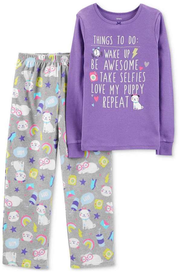 Carter's Carter Little & Big Girls 2-Pc. Purple Puppy-Print Pajamas Set
