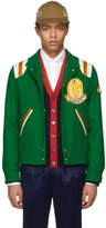 Gucci Green Guccy Tiger Felt Bomber Jacket