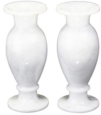 "Natural Geo Home Furnishings Natural Geo Decorative White 8"" Marble Vase (Set of 2)"