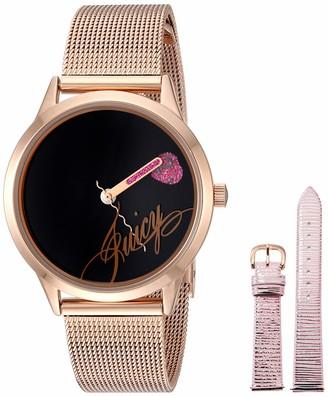 Juicy Couture Black Label Women's Rose Gold-Tone Mesh Bracelet Watch with Pink Metallic Interchangeable Strap JC/1242RIST