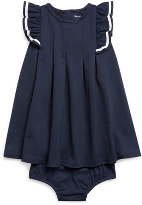Ralph Lauren Childrenswear Girl's Nautical Ponte Knit Dress w/ Matching Bloomers, Size 6-24 Months