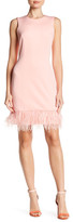 Donna Ricco Faux Feather Hem Dress