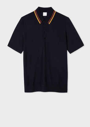 Paul Smith Men's Dark Navy 'Artist Stripe' Merino Polo Shirt