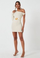 Missguided Cream Rib One Shoulder Buckle Belted Mini Dress