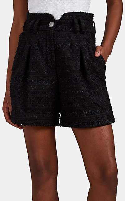 Balmain Women's Metallic Tweed High-Waist Shorts - Black