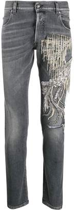 Balmain chain-embellished slim-fit jeans
