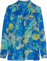 Matthew Williamson Mandarin printed silk-chiffon blouse