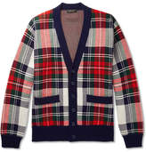 Burberry Runway Checked Cashmere And Wool-blend Cardigan - Navy