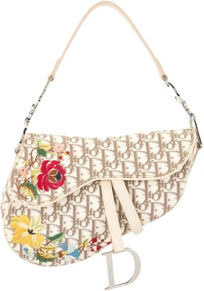 Christian Dior pre-owned Trotter flower embroidery saddle bag