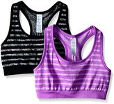 Jockey Women's 2 Pack Reversible Tonal Space Dye Seam Free Sport Bra