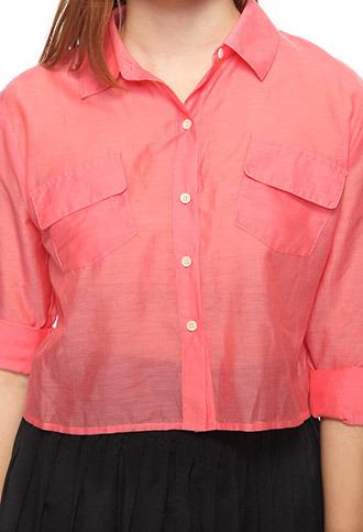 Forever 21 Silk-Blend Peekaboo Shirt