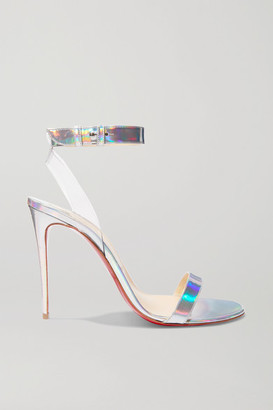Christian Louboutin Jonatina 100 Pvc-trimmed Iridescent Leather Sandals - Metallic
