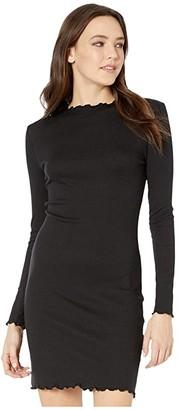 Cotton On Teen Grace High Neck Long Sleeve Mini Dress (Black Rib) Girl's Dress