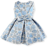 Helena Pleated Floral Jacquard Dress, Blue/Silver, Size 7-14