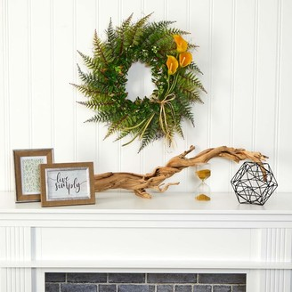 west elm Faux Assorted Fern & Calla Lily Wreath - Yellow