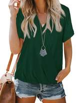 Nsqtba Summer Casual Tops for Women V Neck Wrap White Blouses Short Sleeve Cute Shirts M